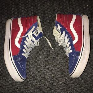 Vans blue white red